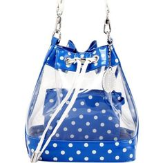Sarah Jean Clear Bucket Handbag - Imperial Blue and White 755e159258397