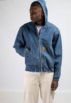 Vintage+Carhartt+Hooded+Denim+Jacket