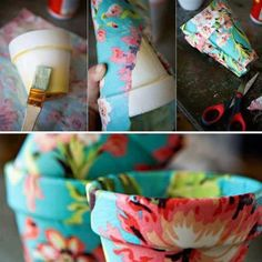 DIY Fabric Covered Flower Pots & a few other cute crafts Cute Crafts, Crafts To Make, Arts And Crafts, Diy Crafts, Mod Podge Crafts, Crafty Craft, Crafting, Fabric Covered, Craft Projects