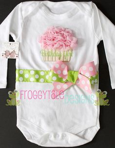 Birthday Girl Ruffle Sparkle Cupcake Bodysuit by FroggytaleDesigns, $35.00