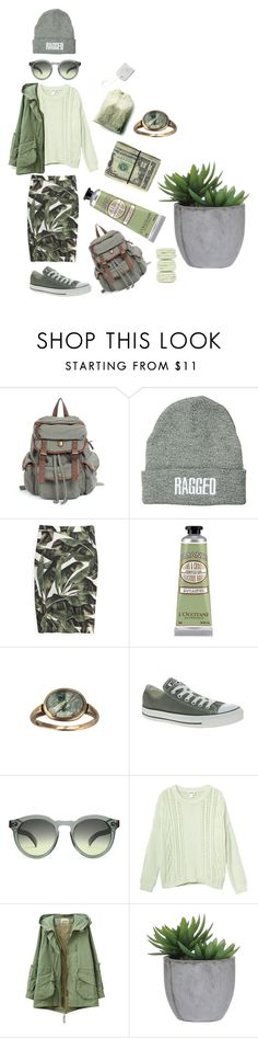 """""""Years & Years - Eyes Shut"""" by mammutipoeg ❤ liked on Polyvore featuring The Ragged Priest, ADRIANA DEGREAS, L'Occitane, Converse, Illesteva, Monki, Lux-Art Silks and Ladurée"""