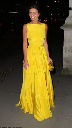 Making a statement: Lucy Mecklenburgh looked sensational in a bright yellow gown as she arrived at London's Victoria and Albert Museum on Thursday evening Pretty Dresses, Beautiful Dresses, Yellow Gown, Long Yellow Dress, Yellow Evening Gown, Yellow Maxi, Celebrity Prom Dresses, Sabrina Neckline, Yellow Bridesmaid Dresses