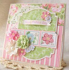 Handmade Mother's Day Card #5 ocbrandy*TPHH Greeting Keepsake Fabric flowers g45