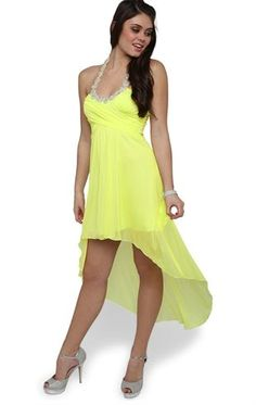 Deb Shops Satin High Low Dress with Stone Halter Neckline and Criss Cross Bodice $60.00 #prom