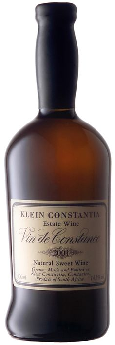 2001 Klein Constantia - Vin de Constance bottle - One of the finest in the World Constance, Sweet Wine, Grand Cru, Wine Recipes, Whiskey Bottle, Wines, Packaging Design, Wine Labels, Wine Bottles