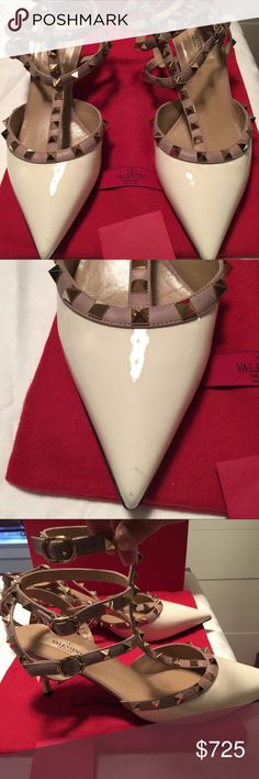 Authentic Valrntino. Rockstud Shoes! In excellent condition except for a small mark at tip of shoes.  The bottoms have some wear. Heels are 3 inches in height.  A very comfortable height. Color is a creme and lilac. Valentino Shoes Heels