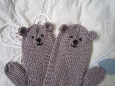 Teddy bear animal novelty mittens brown luxuriously by HotScones