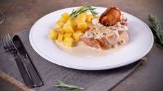 Contramuslos de pollo rellenos de foie con crema de boletus - Receta - Canal Cocina