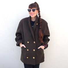 SALE  Was 85  Now 65-Vintage BROWN Peacoat by marinawilliams