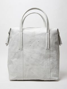 Maison Martin Margiela 11 Paint Effect Hold All Satchel in natural / white