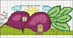 Cross Stitch Cards, Cross Stitch Flowers, Line Patterns, Cross Stitch Patterns, Brother Innovis, Cute Fruit, Stitch 2, Crochet Motif, Pixel Art