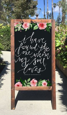 Rustic Wedding Sign - I Have Found The One Whom My Soul Loves Chalkboard Wooden Sandwich Board