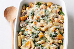 Butternut squash, mushrooms and fresh rosemary are always a winning trio! Try them in this delicious baked ziti casserole for four.