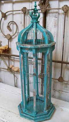 Large birdcage tall chippy painted blue mix distressed wood  wire shabby chic home decor Anita Spero on Etsy, $185.00