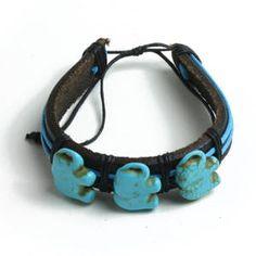 Turquoise Elephant Bracelets (Set of Twelve) by DappermanByAbbey on Etsy