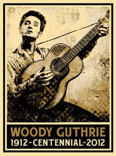 Artist Shepard Fairey has created this exquisit print to commemorate Woody Guthrie's 100th birthday. Only 450 signed and numbered prints will be produced and generously donated as a fundraiser for the Woody Guthrie Foundation. Thank you, Shepard! click for more info