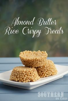 Honey Almond Butter Rice Crispy Treats (brown rice puffs, almond butter and honey!)