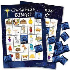 Religious Christmas Bingo Game - 24 Players DISTINCTIVS Christmas Bingo Cards, Christmas Games For Kids, Christmas Party Themes, Christmas Events, Christmas Store, Christmas Activities, Christmas Traditions, Christmas Trivia, Christmas Printables