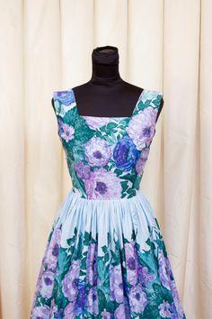 1950's Dress // Blue and Purple Floral Border by GarbOhVintage, $74.00