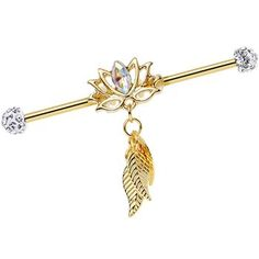 Clear Gem Gold Anodized Flowing Lotus Dangle Industrial Barbell 38mm | Body Candy Body Jewelry