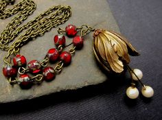 Valentine Red Necklace Vintage Inspired Style  antique brass Tulip Flower off white pearls tassel necklace on Etsy, $56.27 AUD