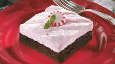 Creamy Peppermint-Topped Brownie Dessert