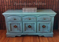 Furniture upcycle shabby chic turquoise blue vintage buffet tv console cabinet hand painted with diy chalk paint and distressed wood Facebook.com/nakhome