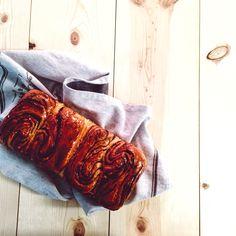 Freshly baked cocoa swirl bread loaf