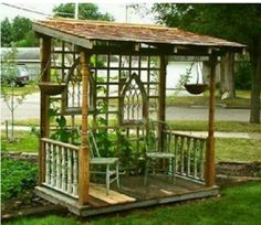 A gazebo may give a grand appearance to your backyard. In addition, this kind of DIY patio isn't overly hard to finish. Building a little backyard patio by employing simple patio design ideas is quite a bit easier than you… Continue Reading → Porch Garden, Garden Junk, Porch Gazebo, Garden Landscaping, Diy Gazebo, Porch Swings, Garden Kids, Diy Porch, Garden Gazebo