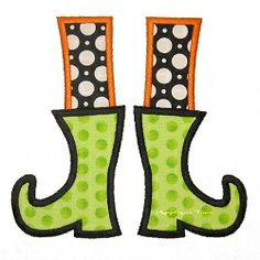 Witch Boots Applique, With and Without Buckle - 3 Sizes! | Halloween | Machine Embroidery Designs | SWAKembroidery.com Applique Time