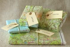 wrapping paper (maps) - brilliant!