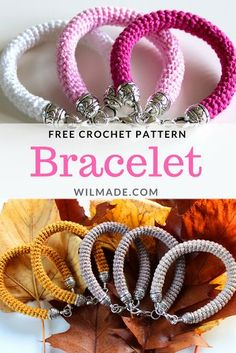 Free crochet pattern to make these bracelets on wilmade.com