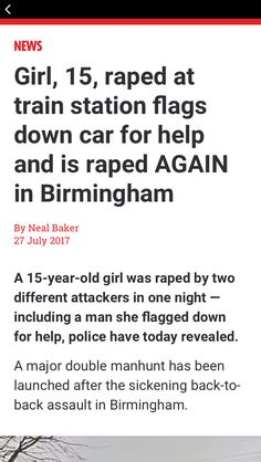 Credit for story goes to Alex Hanson/See the full story here: http://www.independent.co.uk/news/uk/crime/teenager-girl-raped-15-witton-railway-station-birmingham-aston-villa-tuesday-manhunt-latest-a7863646.html