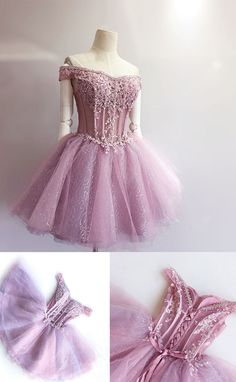 Elegant Homecoming Dress,Lace Homecoming Dress,Cute Homecoming Dress,Short Prom Dress,Off the Shoulder Prom Gowns,Sweet 16 Dress
