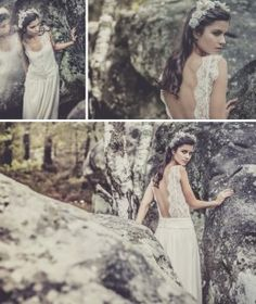 A show stopping collection of lace, boho inspired backless wedding dresses from French designer Laure de Sagazan French Wedding Dress, Wedding Robe, Backless Lace Wedding Dress, Wedding Gowns, Wedding Hair, Laura Lee, Marie Laporte, Designer Wedding Dresses, Bridal Style
