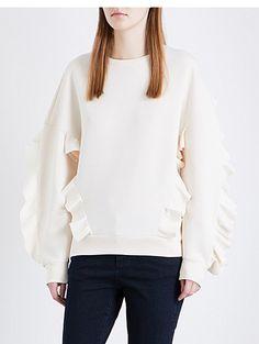 STELLA MCCARTNEY Ruffle-trimmed cotton-jersey sweatshirt