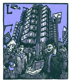 """L - Lloyds Bank"" from ""London A-Z"" Complete Boxed Set linocuts by Tobias Till, 2012. http://www.tobias-till.co.uk/. Tags: Linocut, Cut, Print, Linoleum, Lino, Carving, Block, Woodcut, Helen Elstone, Buildings, Architecture, Lloyds of London, Tower, Skyscraper, People."