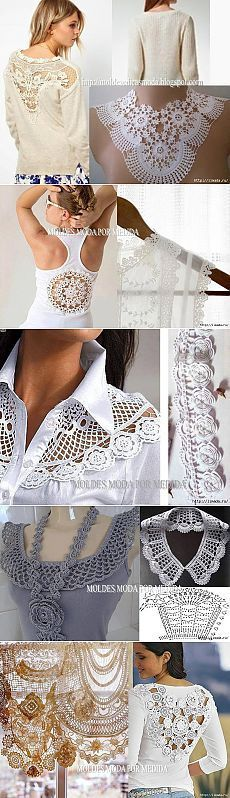 Crochet refashion for shirts Diy Clothing, Sewing Clothes, Crochet Clothes, Col Crochet, Irish Crochet, Crochet Doilies, Lace Doilies, Diy Fashion, Ideias Fashion