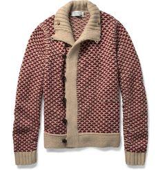 patterned camel hair blend cardigan ++ yves sait laurent