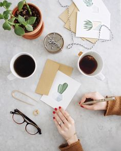 """Writing out some notes to friends near and far, this morning. There's not enough snail mail going around these days and who doesn't love a little surprise…"""