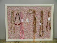 Antique White Upcycled Jewelry Organizer and Display from Vintage Frame and Fabric via Etsy