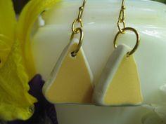 Tumbled vintage china earrings YELLOW TrAsH gLaSs