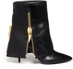 Jeti Goldtone Zipped Flap Cover Leather Booties