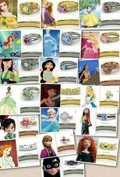 Disney girls inspired rings