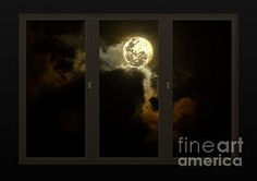 Featured Art - Moon from my Living Room  by Kaye Menner