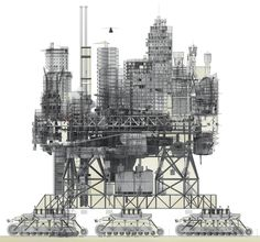 Manuel Dominguez's VLS or 'Very Large Structure', a city that moves on caterpillar tracks to find better environmental conditions. Architecture Graphics, Architecture Drawings, Architecture Design, Computer Architecture, System Architecture, Architecture Today, Architecture Portfolio, Vertical City, 3d Modelle