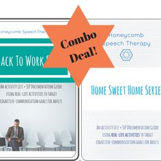 Functional Adult Speech Therapy: Back To Work Series +  Home Sweet Home Series. Activity guides for speech therapy! Functional, Meaningful, Relevant...and a DEAL!