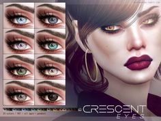 The Sims 4 Crescent Eyes Sims 4 Cc Eyes, Sims 4 Cc Skin, Sims Cc, Sims Stories, The Sims 4 Pc, Sims 4 Cc Makeup, Sims 4 Cc Packs, Queen Makeup, The Sims 4 Download