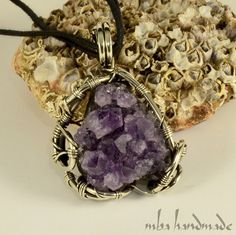 Natural Brazilian Amethyst Cluster German Silver by MbaHandmade