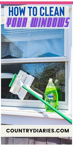 This is a super easy and fast way to clean both the inside and outside of your windows. It only takes a few items you might have at home. #cleaning #cleaninghacks #householdhacks #cleaningtips #householdtips